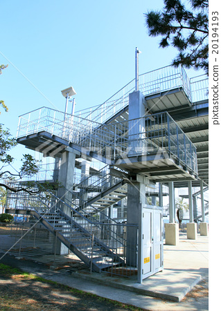 Tsunami, stairway of evacuation tower 20194193