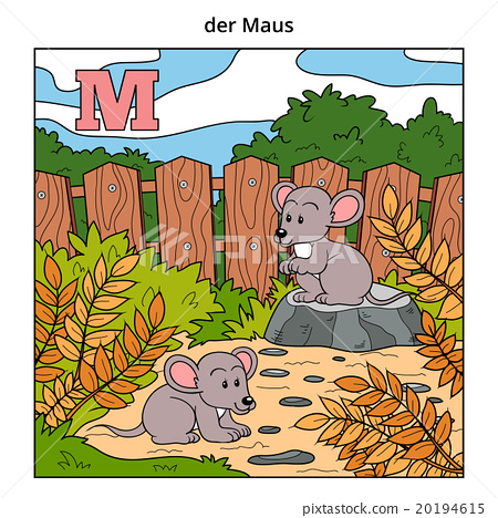 German alphabet, letter M (mouse and background) 20194615