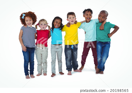 Cute barefooted kids hugging and looking at camera 20198565