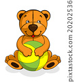 Toy teddy bear baby smiling, happy play with ball 20202536