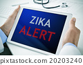 doctor with a tablet with the text zika alert 20203240