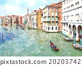 Abstract watercolor digital Venice painting. 20203742