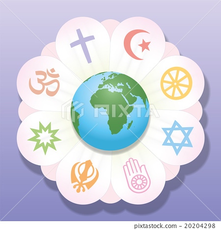 Stock Illustration: Religions United World Flower Peace Symbols