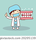 Happy cartoon denture and dentist 20205139