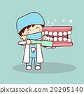 Happy cartoon denture and dentist 20205140