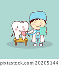 Happy cartoon tooth and dentist 20205144