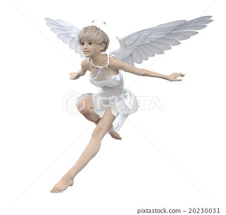 天使飛行在天空燙髮3DCG例證材料 20230031