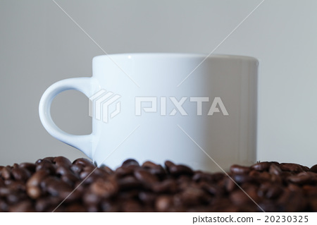 White Cup in Coffee Beans 20230325
