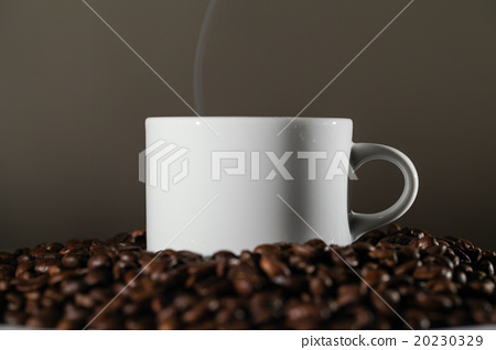 White Cup in Coffee Beans 20230329
