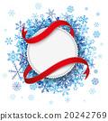 White Paper Emblem Flag Blue Snowflakes 20242769