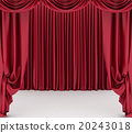 Open red theater curtain. 3d illustration 20243018