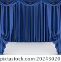 Open blue theater curtain. 3d illustration 20243020