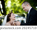 Bride and groom in car 20245710