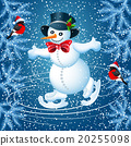 Snowman skates in cylinder hat and  bullfinch 20255098