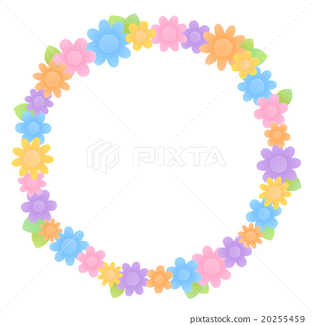 Simple And Cute Flowers With Lots Of Colorful Round Frame Background