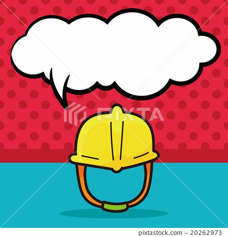 engineer helmet color doodle, speech bubble 20262973