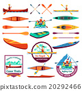 Rafting Canoeing And Kayak Elements Set  20292466