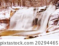 Watercolor paint effect. Winter waterfall on river 20294465