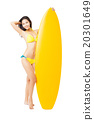 beautiful young Woman  holding surfboard 20301649