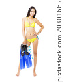 young woman in bikini holding equipment for snorkeling 20301665