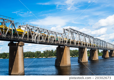 Railroad bridge  with freight train 20302673