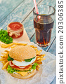 Home made burger on wooden background 20306385