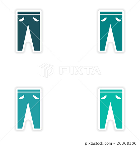Set of paper stickers on white background pants 20308300