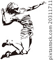 Volleyball spike (silhouette style) 20311711