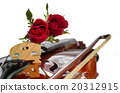 Violin and red roses on white background 20312915
