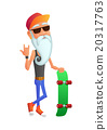 Bearded Old Man with Skateboard 20317763
