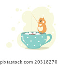 Hamster fishing for marshmallows in a cup coffee 20318270