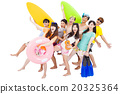 summer, beach, vacation, happy young group travel concept 20325364