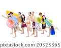 summer, beach, vacation, happy young group travel concept 20325365
