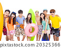 summer, beach, vacation, happy young group concept 20325366