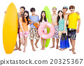 happy young group enjoy summer vacation concept 20325367