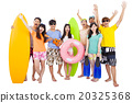 summer, beach, vacation, happy young group travel concept 20325368