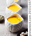 Pumpkin, corn soup with salty popcorn in a bowl  20331507