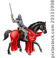 Medieval Knight on Black Horse 20333998