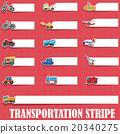 Cute vehicle types on blank stripe 20340275
