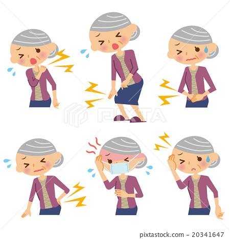 症狀 老人 成熟的女人 20341647