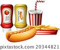 Hotdog and fries with two kind of sauces 20344821