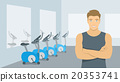 Personal fitness trainer man in gym illustration 20353741