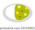 在綠咖哩煮熟的米飯 20359663