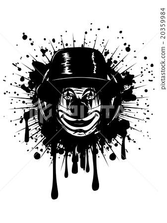 clown in hat on grunge splash 20359984