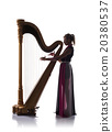 Silhouette of woman with harp 20380537