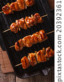 yakitori skewers of chicken on a grill pan closeup 20392361