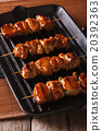 Japanese yakitori skewers of chicken on a grill 20392363