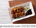 Yakitori chicken with green onions on a plate 20392368
