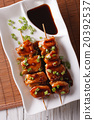 Yakitori chicken with green onions close-up 20392537