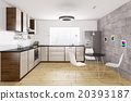 Modern kitchen interior 3d rendering 20393187